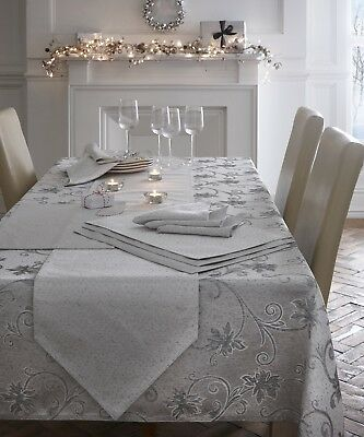 Embroidered Glitter Dining Kitchen Table Cloth Linen / Runner Ravina Silver New