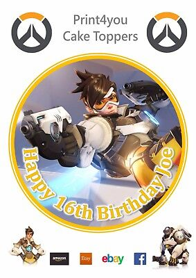 ND1 Overwatch xbox ps game personalised round cake topper icing edible