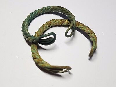 PAIR OF VIKING BRONZE TWISTED WIRE BRACELETS 9th-11th century AD