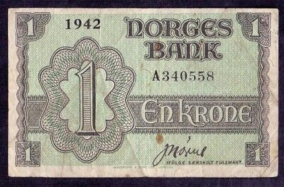 1 Krone From Norway 1942  British Print