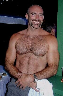 Shirtless Male Muscular Hunk Beefy Dude Hairy Chest Arms PHOTO 4X6 D1192