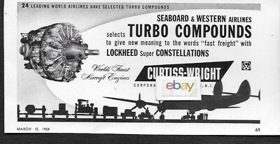 Seaboard & Western Airlines 1954 Lockheed Super Constellation Fast Freight Ad