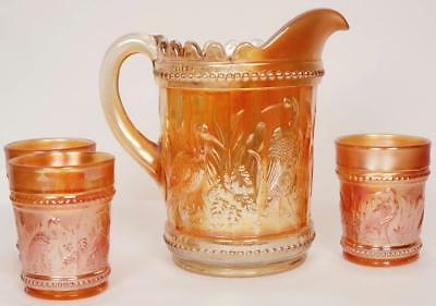 Antique CARNIVAL GLASS Water Set STORK and RUSHES Marigold Pitcher and 3 Tumbler