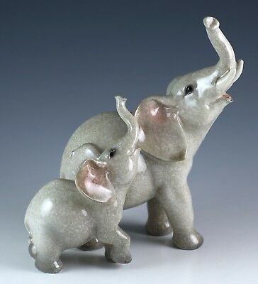 """Elephant Mother & Baby Figurine Resin 5.5"""" High Glossy Finish New In Box"""