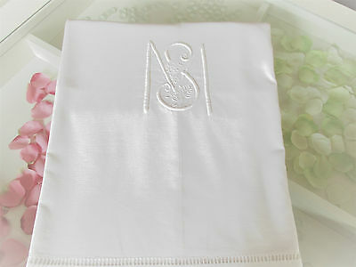 """Vintage French White Pure Line Sheet  Embroidered Monogram """"  M S  """""""