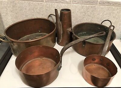 3 Kg Collectable 5 Old Coppers Pans And Jug