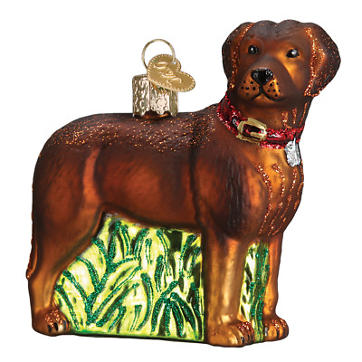 """Standing Chocolate Lab"" (12508)X Old World Christmas Glass Ornament w/OWC Box"