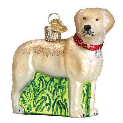 """Standing Yellow Lab"" (12496)X Old World Christmas Glass Ornament w/OWC Box"