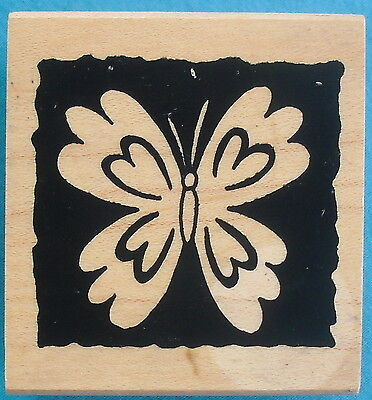 """Great Impressions rubber stamp, REVERSE PRINT BUTTERFLY, 1¾"""" x 1⅞ """" wood block"""