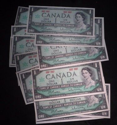 (19) 1967 Canada One Dollar $1 Notes- All 19 Uncirculated!