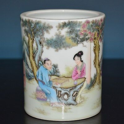 Delicate Chinese Famille Rose Porcelain Brush Pot Marked Qianlong Rare E9681