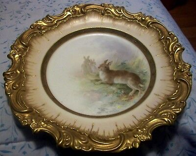 Doulton Burslem Meadow Hares Rabbits Cabinet Plate Artrist Signed Henry Mitchell