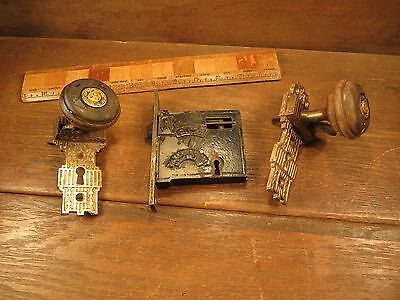 Antique 1800's GILBERTS PATENT Brass Ornate Door Knob Mortise Lock Set MAY 10 76