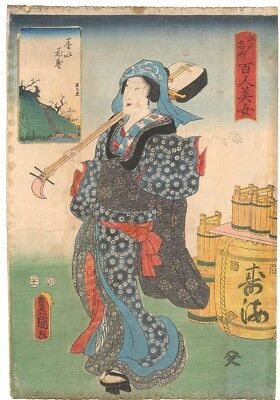 Genuine Original Japanese woodblock print Toyokuni 3 100 Beauties