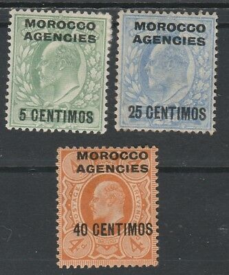 Morocco Agencies Spanish Currency 1907 Kevii 5C 25C And 40C