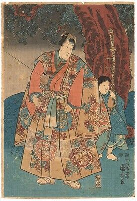 Genuine original Japanese woodblock print Kuniyoshi