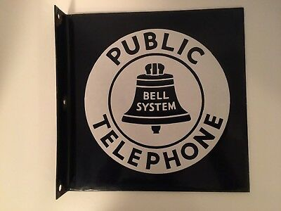 Vintage Bell System Public Telephone 11 x 11 Flange Enamel Payphone Sign Nice