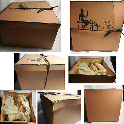 Vintage Tan HAT Box JAYS BOSTON and WELLESLEY Mass Square Cardboard Black Ties