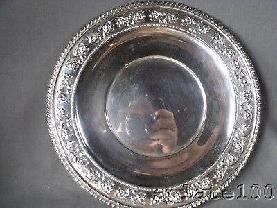 Frank Whiting Sterling Silver Round Tray  Repousse' Border Apple Cherry Blossoms