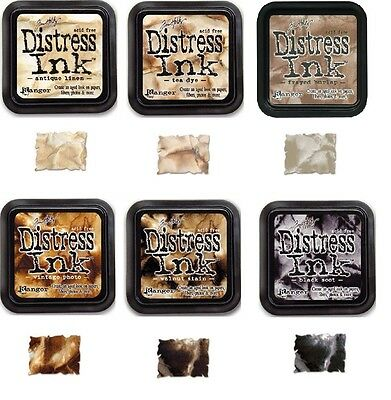 6 Tim Holtz Distress Ink Pads - Full Size - Different Colours - Browns & Black