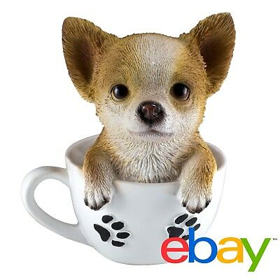 "Chihuahua Puppy In A Tea Cup Dog Figurine Resin 6"" High New In Box!"