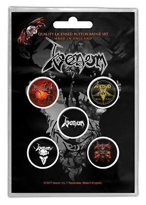 Venom - 5 x 2.5cm Button Set - Black Metal