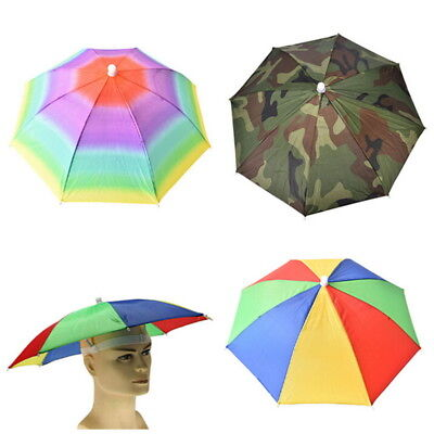 Sparkle Umbrella Hat Cap Head Fishing Camping Hiking Sun Shade Brolly Foldable