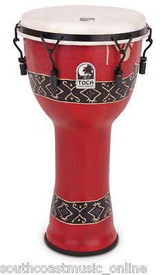 Toca Djembe Bali Red 10 Inch Lightweight Synthetic Mechanical Tuning Brand New!