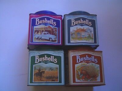 "Set Of Four Old Collectable ""bushells"" Tea Tins"