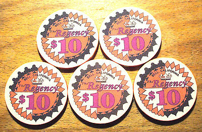 5 - $10. Regency Casino Chips - Bell, California - 1981