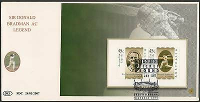 AUSTRALIA 2007 CRICKET LEGEND BOOKLET PANE SIR DON BRADMAN AC First Day Cover