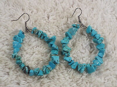 Turquoise Stone Hoop Pierced Earrings (A73)