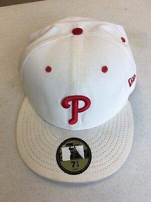 16a90b032d9 PHILADELPHIA PHILLIES White With Red P 5950 New Era Flat Brim Fitted ...