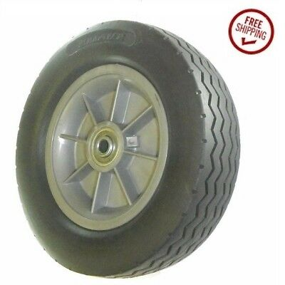 """Solid Rubber Hand Truck and Cart Tire with Offset Hub (2-1/4"""") 10"""" Wheel"""