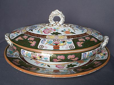19thc Antique Porcelain Tureen Covered Vegetable Dish Ironstone English Imari