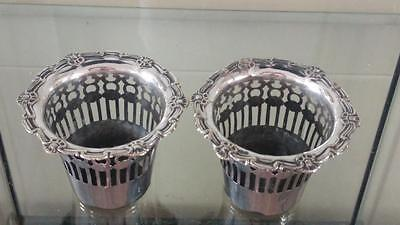 Pair of Beautiful Antique Small Silver Plated Reticulated Cache Pots C 1890+