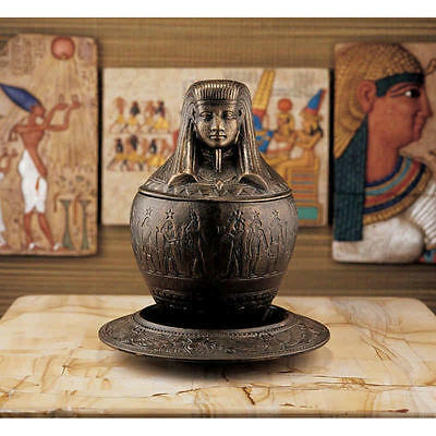 Egyptian Revival Cast Iron 1920 Style Antique Replica Canopic Jar & Ritual Plate