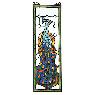 Tiffany Style Peacock in Sunlight Hand Crafted Stained Glass Window Suncatcher