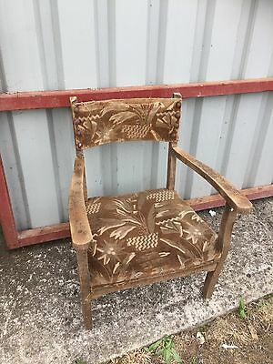 Art Deco Vintage Antique Small Low Chair 1930s Fabric 18/7/A