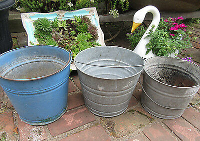 Lot Of 3 Vintage Galvanized Metal Pails Buckets Garden Metal Planters Yard Decor