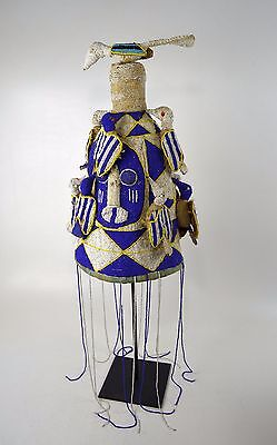 A Fine Yoruba Beaded Crown with Avian images, Blue,White & Yellow African Art