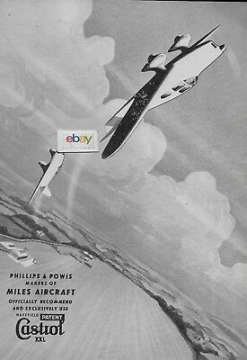 Castrol Oil Company 1937 Miles Aircraft By Phillips & Powis Wakefield Castrol Ad