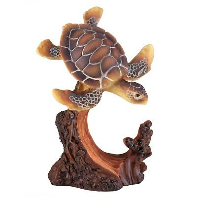 Sea Turtle Carved Wood Look Figurine Resin 4.25 Inch High New!