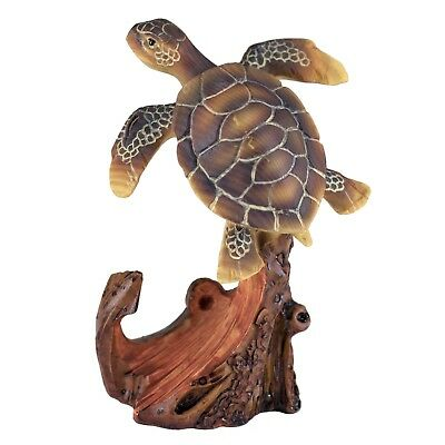 Sea Turtle With Anchor Carved Wood Look Figurine Resin 4 Inch High New!