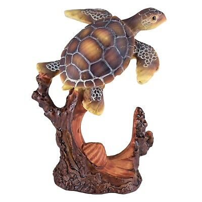 Sea Turtle With Shell Carved Wood Look Figurine Resin 4 Inch High New!