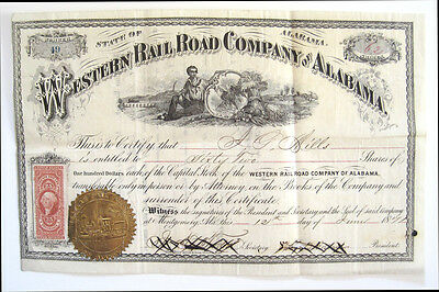 Western Railway of Alabama Capital Stock Certificate 1871 R-44
