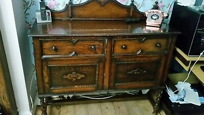 Antique Oak Barley Twist Sideboard With Secretaire Drawer Excellent Condition