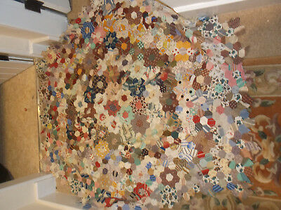 Vintage  hand stitch unfinished patchwork to make quilt,small hexagons Victorian