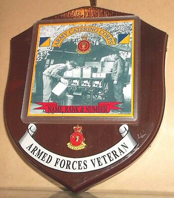 Army Catering Corps Veteran Wall Plaque with name rank & number