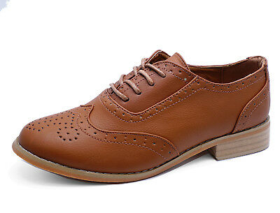 Ladies Flat Tan Oxford Brogue Smart Work Lace-Up Casual Comfy Shoes Sizes 3-8